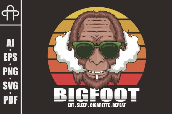 Print on Demand: Bigfoot Cigarette Retro Illustration Graphic Illustrations By Andypp