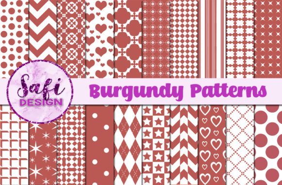 Print on Demand: Burgundy Patterns Graphic Patterns By Safi Designs