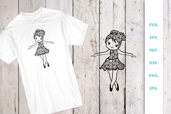 Download Free Cute Ballerina Out Of Mandala 6 Graphic By Sintegra Creative for Cricut Explore, Silhouette and other cutting machines.