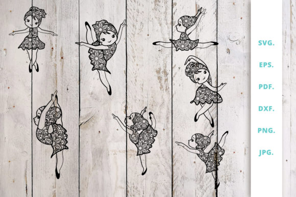 Download Free Cute Ballerina Out Of Mandala Bundle Graphic By Sintegra SVG Cut Files