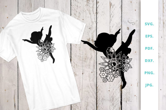 Print on Demand: Floral Ballerina Silhouette 2 Graphic Crafts By Sintegra
