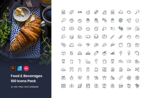 Food & Beverages 100 Set Icons Pack Gráfico Iconos Por StringLabs