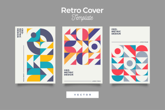 Download Free Retro Bauhaus Cover Design Template Graphic By Novendi88 for Cricut Explore, Silhouette and other cutting machines.