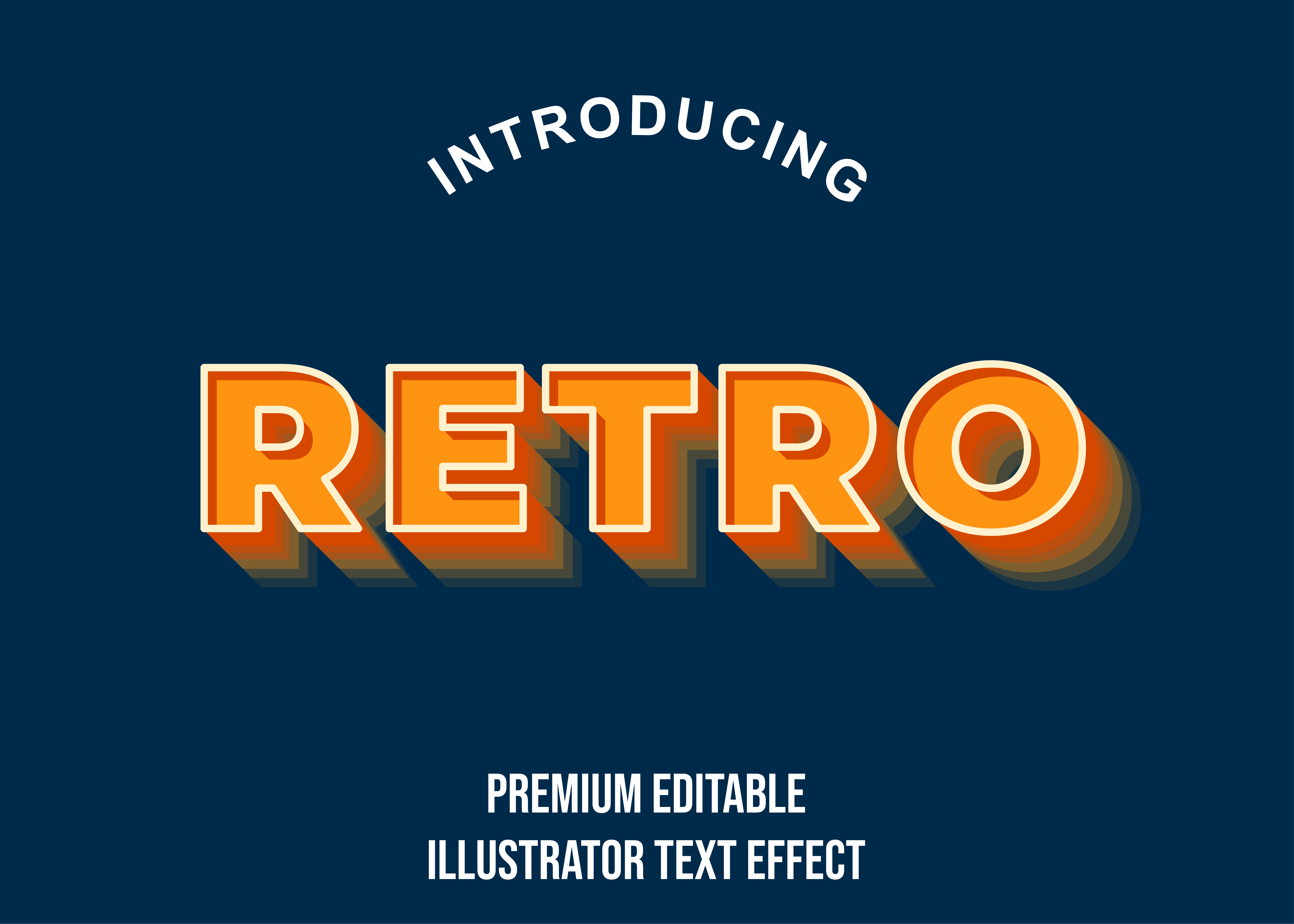 Download Free Retro Orange 3d Illustrator Text Effect Graphic By Eddyinside for Cricut Explore, Silhouette and other cutting machines.