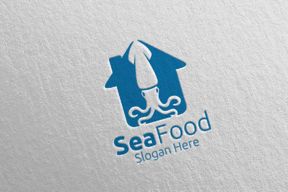 Download Free Squid Seafood Logo Restaurant Or Cafe 83 Graphic By Denayunecf for Cricut Explore, Silhouette and other cutting machines.