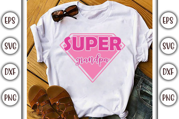 Print on Demand: Super Grandpa, Family Svg Design Graphic Print Templates By GraphicsBooth - Image 1