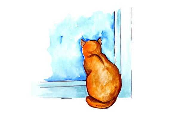 Cat Looking out Window in Watercolor Style Cats Craft Cut File By Creative Fabrica Crafts