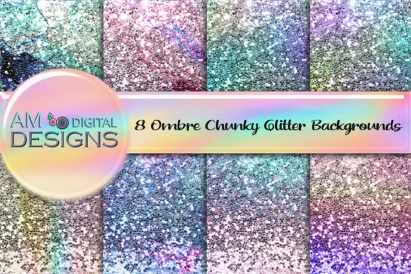 Print on Demand: 8 Chunky Ombre Glitter Graphic Print Templates By AM Digital Designs