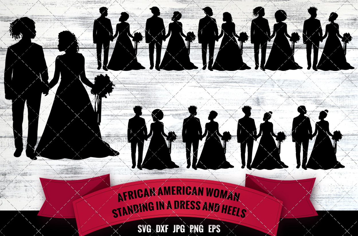 Download Free Black Wedding Couple Graphic By Thesilhouettequeenshop for Cricut Explore, Silhouette and other cutting machines.