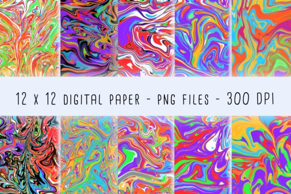 Print on Demand: Bright Rainbow Marble Graphic Backgrounds By RoughDraftDesign