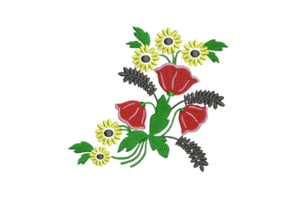 Colorful Flowers Embellishment Bouquets & Bunches Embroidery Design By Embroidery Designs - Image 1