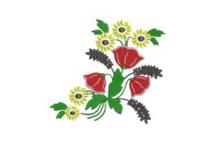 Colorful Flowers Embellishment Bouquets & Bunches Embroidery Design By Embroidery Designs