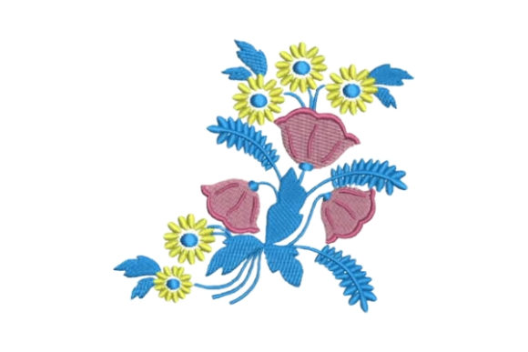 Colorful Flowers Embellishment Light Bouquets & Bunches Embroidery Design By Embroidery Designs