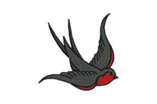Colorful Swallow Tattoo Birds Embroidery Design By Embroidery Designs