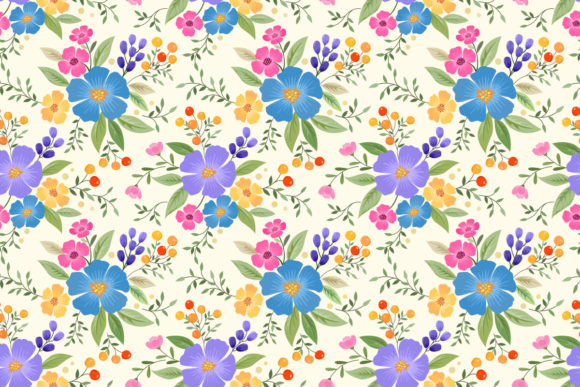 Colorful Hand Drawn Flower Pattern. Graphic Patterns By ranger262