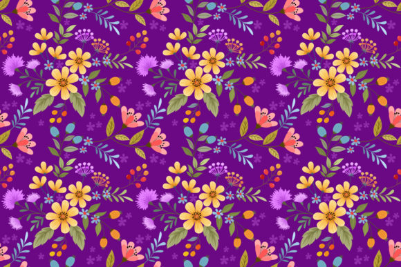 Colorful Hand Drawn Flowers Pattern. Graphic Patterns By ranger262