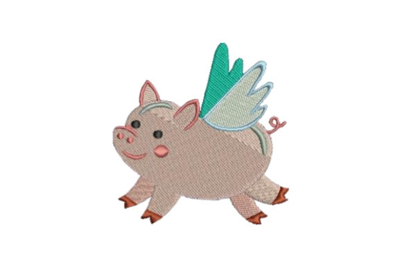 Cute Flying Pig Baby Animals Embroidery Design By Embroidery Designs - Image 1