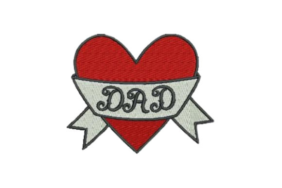 Dad Heart Tattoo Padre Diseños de bordado Por Embroidery Designs