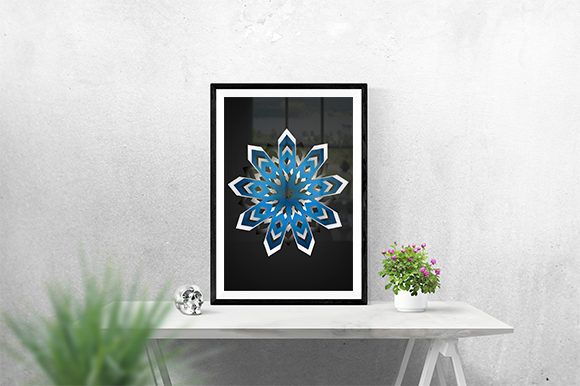Print on Demand: Decorative Blue and Black Poster Graphic Print Templates By creativesya