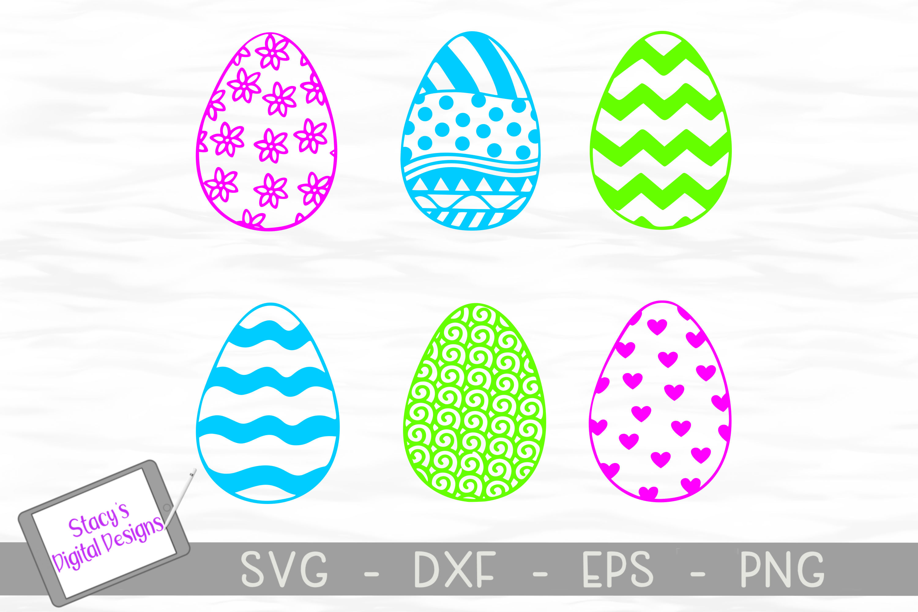 Download Free Easter Eggs Bundle Eggs Graphic By Stacysdigitaldesigns for Cricut Explore, Silhouette and other cutting machines.