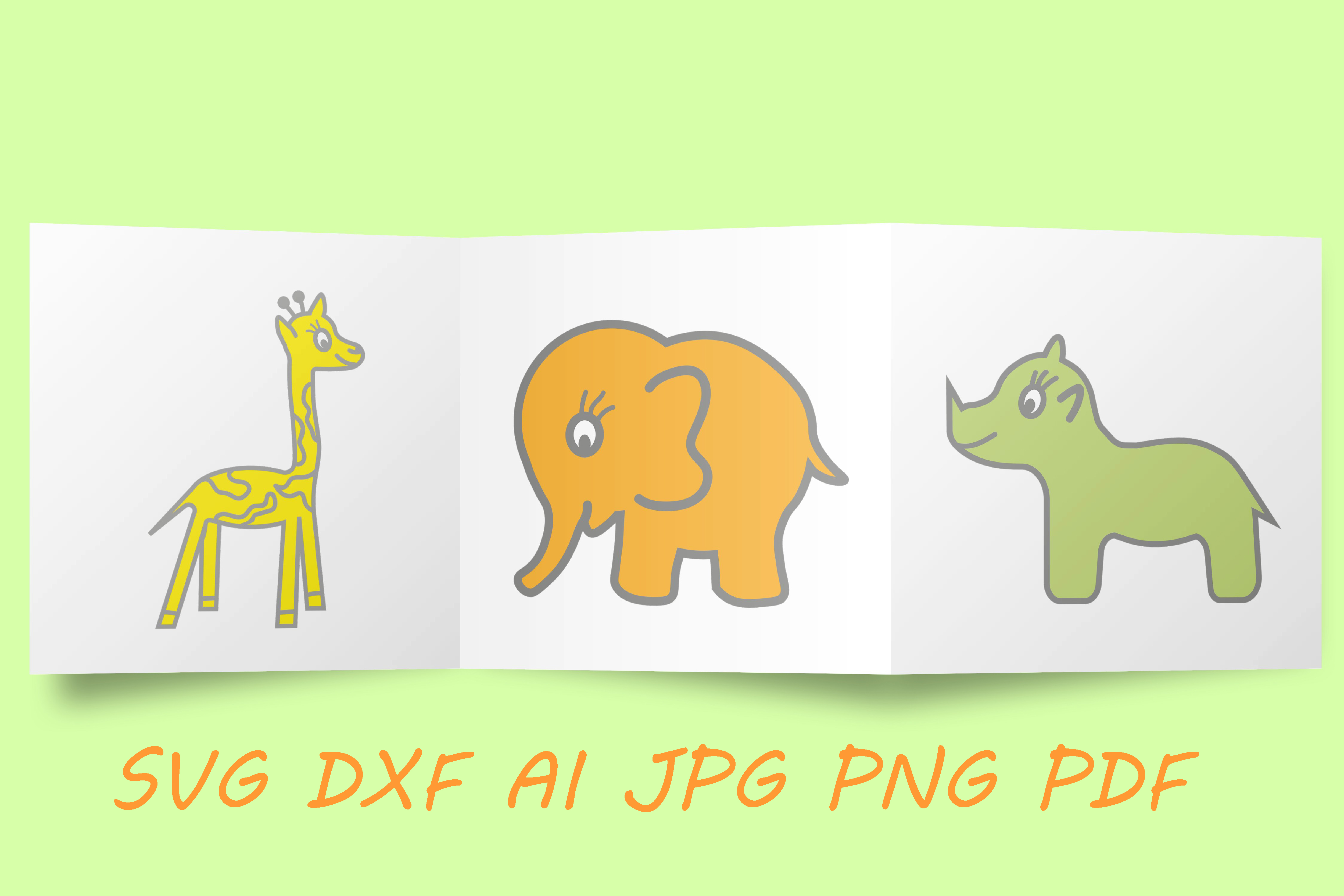 Download Free Elephant Giraffe Rhino Graphic By Tanja Dianova Creative Fabrica for Cricut Explore, Silhouette and other cutting machines.