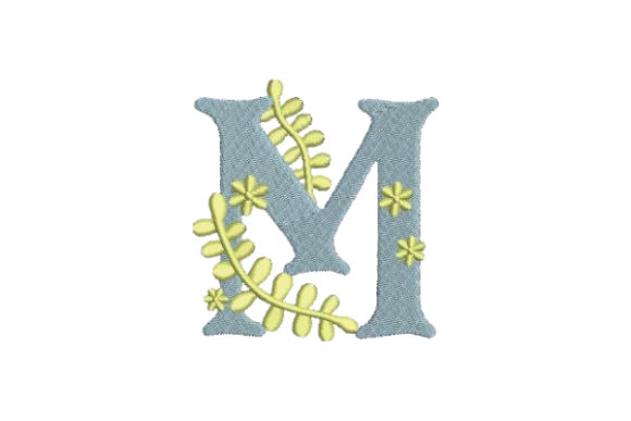 Floral Alphabet M Wedding Monogram Embroidery Design By Embroidery Designs - Image 1