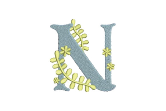 Floral Alphabet N Wedding Monogram Embroidery Design By Embroidery Designs - Image 1