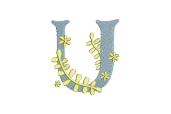 Floral Alphabet U Wedding Monogram Embroidery Design By Embroidery Designs