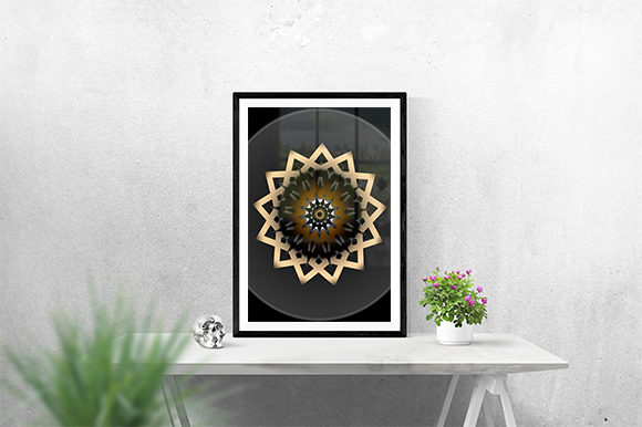 Print on Demand: Golden Ornament Poster Graphic Print Templates By creativesya