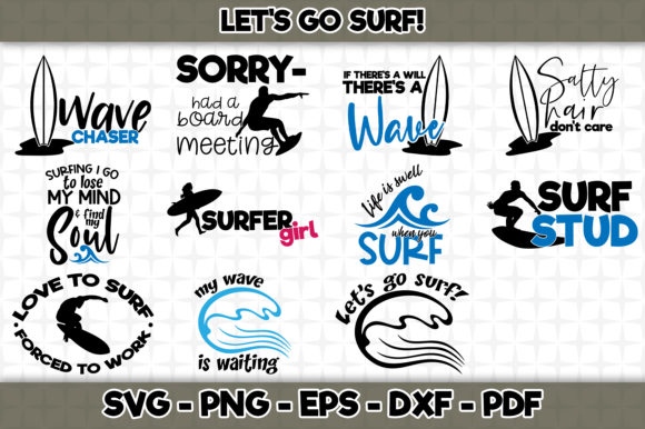 Print on Demand: Let's Go Surf! Bundle Graphic Crafts By SVGExpress