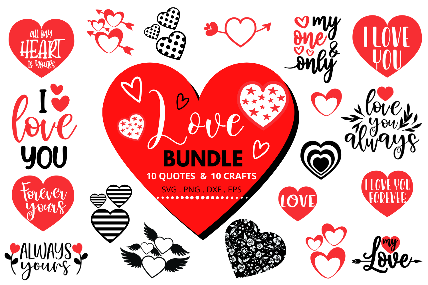 Download Free Love Bundle Graphic By Graphipedia Creative Fabrica for Cricut Explore, Silhouette and other cutting machines.
