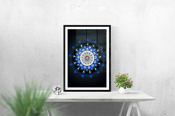Print on Demand: Ornament Blue Poster Graphic Print Templates By creativesya