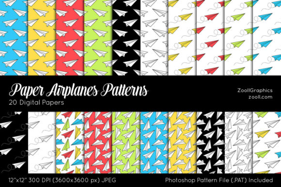 Paper Airplanes Graphic Patterns By ZoollGraphics