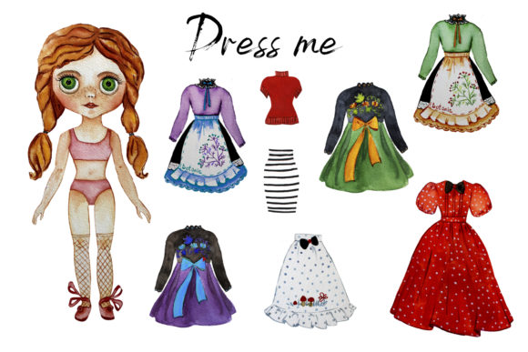 Paper Doll with Clothes Graphic Actions & Presets By ElenaZlataArt