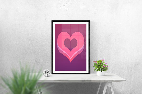 Print on Demand: Pinky Heart Poster Graphic Print Templates By creativesya