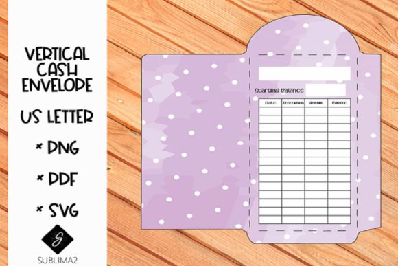 Download Free Printable Vertical Cash Envelope Graphic By Sublima2 Creative Fabrica for Cricut Explore, Silhouette and other cutting machines.