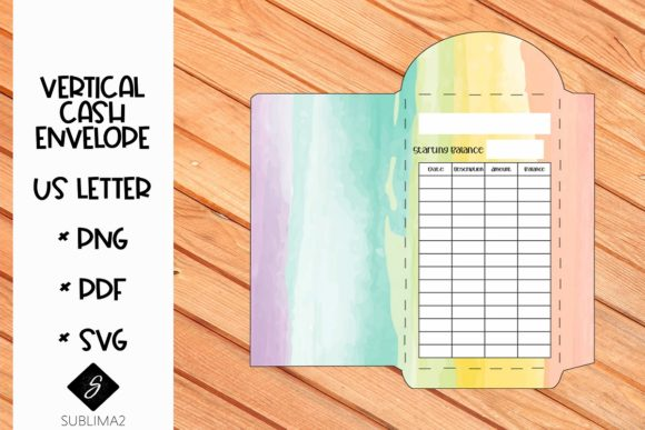Download Free Printable Vertical Cash Envelope Graphic By Sublima2 Creative for Cricut Explore, Silhouette and other cutting machines.