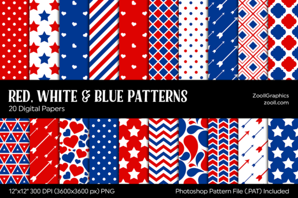 Red, White & Blue Graphic Patterns By ZoollGraphics