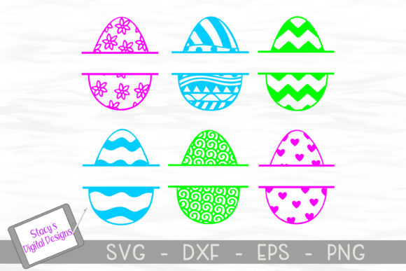 Download Free Split Monogram Easter Eggs Graphic By Stacysdigitaldesigns for Cricut Explore, Silhouette and other cutting machines.