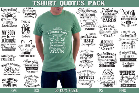 Print on Demand: T-shirt Quotes Bundle Graphic Crafts By Nerd Mama Cut Files