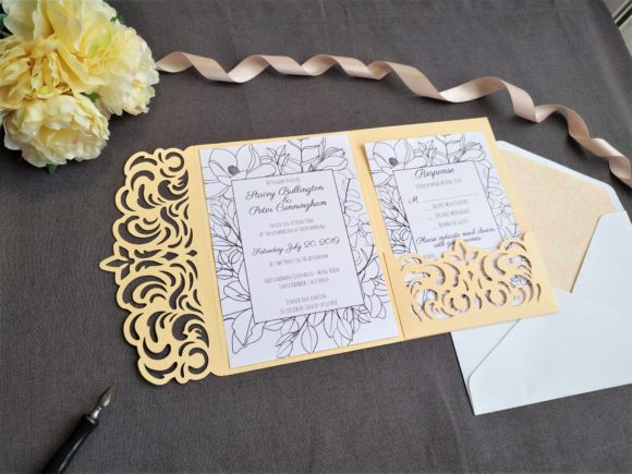 Download Free Four Fold Wedding Invitation Graphic By Sadovichdesign for Cricut Explore, Silhouette and other cutting machines.