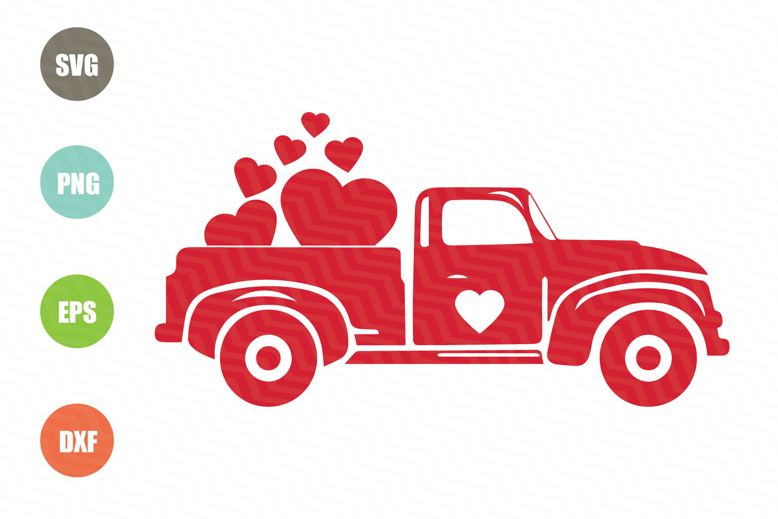 Download Free Valentines Red Truck Graphic By Logotrain034 Creative Fabrica for Cricut Explore, Silhouette and other cutting machines.