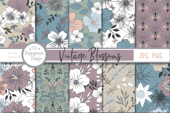 Print on Demand: Vintage Blossom Paper Grafik Muster von poppymoondesign