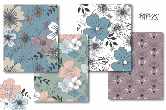 Print on Demand: Vintage Blossom Paper Graphic Patterns By poppymoondesign - Image 2