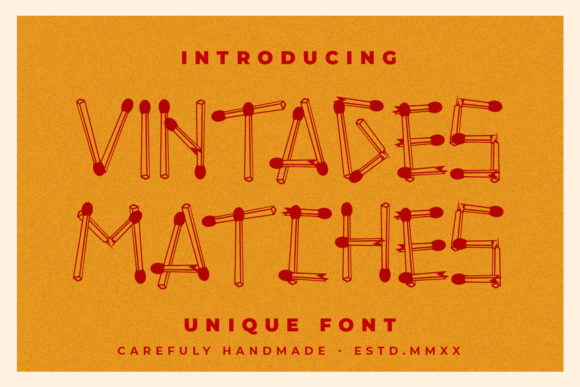 Print on Demand: Vintages Matches Display Font By Abodaniel - Image 1