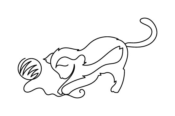 Cat Playing with Ball of Yarn (line Art Style) Cats Craft Cut File By Creative Fabrica Crafts