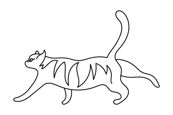 Cat Stretching (line Art Style) Cats Craft Cut File By Creative Fabrica Crafts