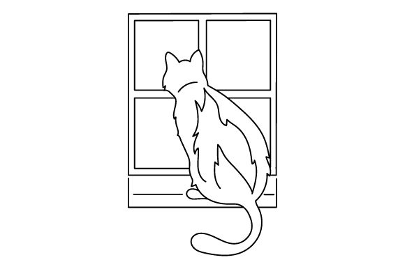 Cat Looking out Window (line Art Style) Cats Craft Cut File By Creative Fabrica Crafts