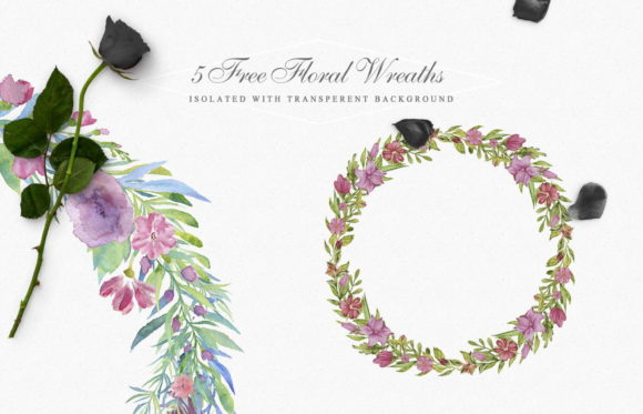 5 Floral Wreaths Graphic Illustrations By Creative Fabrica Freebies