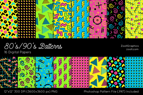 Download Free 80 S 90 S Patterns Digital Papers Graphic By Zoollgraphics for Cricut Explore, Silhouette and other cutting machines.